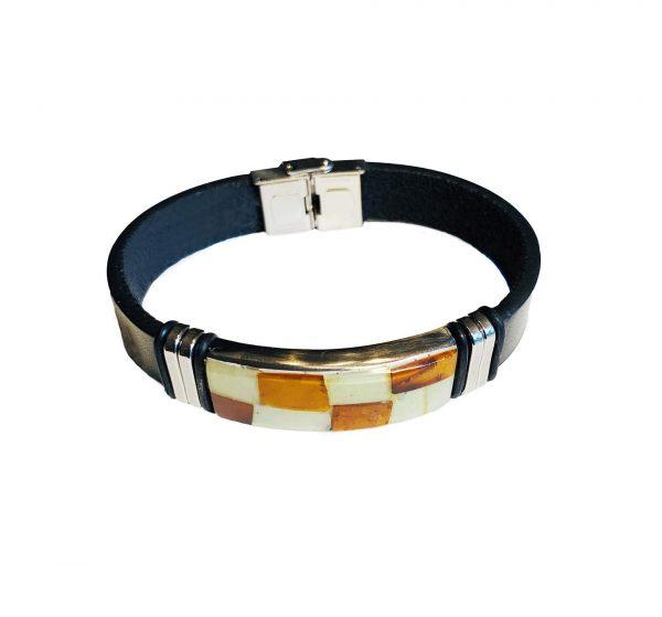 Leather Amber Bracelet