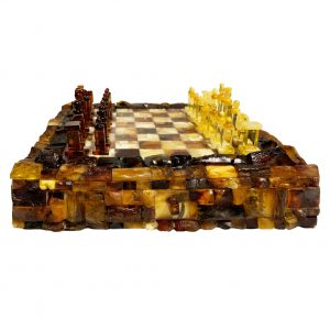 Natural Amber Chess Set and Board