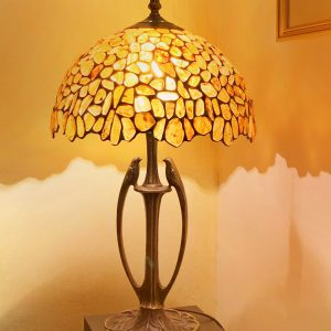 Amber Tiffany Stained-Glass Lamp