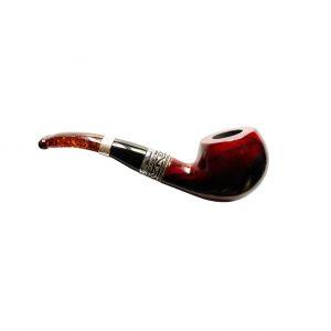 Amber decorated smoking pipe - set