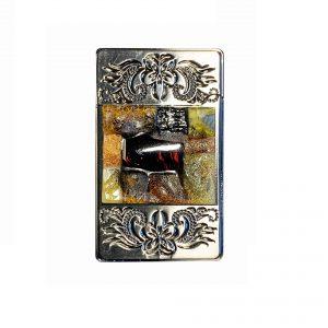 zapalniczka gazowa zdobiona bursztynową mozaiką